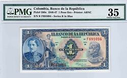 Colombia Banknotes 1 1947 F Series Pmg Certified 35
