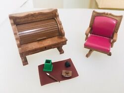 Sylvanian Families Vintage Roll Top Desk And Swivel Chair Plus Accessories