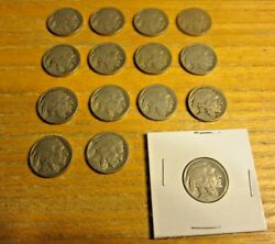 Lot Of 15 Usa United States Buffalo Nickels 1920-1936 5 Cent Circulated Coins