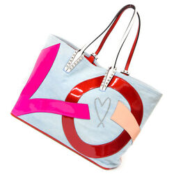 Authentic Christian Louboutin Denim Love Tote Bag With Pouch From Jp Very Rare