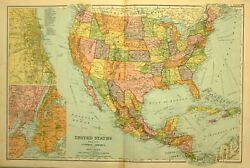 1905 Antique Map United States Central America New York Chicago West Indies