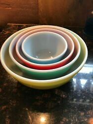 Pyrex Primary Colors Nesting Mixing Vintage Bowls Set Of Four / 401, 402, 403, 4