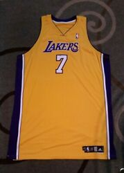 Lamar Odom Jersey Team Issued Pro Cut Autographed Jersey Gold 2007-08 Size 58+4