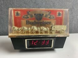 Vintage Budweiser Clydesdale Team Clock And Lamp Cash Reigister Topper Works