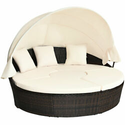 Patio Rattan Daybed Wicker Outdoor Sofa Bed Furniture Set W/ Canopy Pillow Table