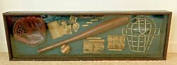 Handmade The History Of Baseball Wooden And Glass Shadow Box 41.5 X 13 X 3.5
