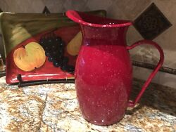 Pottery Barn Red Enamel Ware Pitcher - New Discontinued
