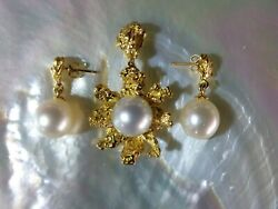 Australian Gold Nugget Jewellery Set With 3 South Sea Pearls, Total W 29.5 Grs