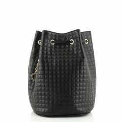 Authentic Celine Small C Charm Bucket Bag Quilted Calfskin Black