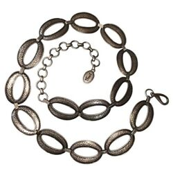 Fossil Vintage 1990s Hammered Links Silver Oval Chain Belt, Lobster Claw Clasp