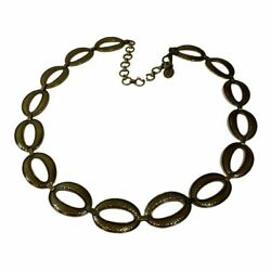 Fossil Vintage 1990s Hammered Links Gold Oval Chain Belt, Lobster Claw Clasp