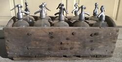 Rare And Vintage Seltzer Soda Bottle Wood Carrying Crate, 10 Glass Seltzer Bottles