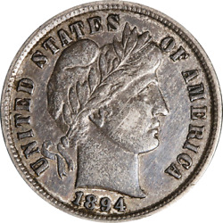 1894-p Barber Dime - Hidden Scratches Great Deals From The Executive Coin Compan