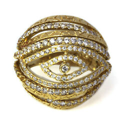 2 Ctw Natural Diamond Solid 18k Yellow Gold Open Eye Big Dome Line Cocktail Ring