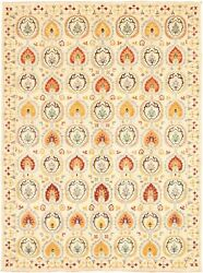 Modern Hand-knotted Carpet 8and03911 X 12and0392 Ivory Area Rug
