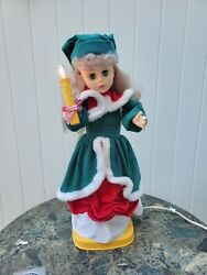 Vintage Telco Original Motion-ettes Of Christmas Girl With Candle Caroler 23