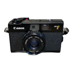 Vintage Canon A35f 35mm Film Rangefinder Point And Shoot Camera Black 40mm 12.8
