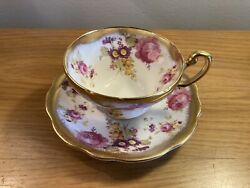 Beautiful Eb Foley England Purple / Pink Floral Gold Trim Tea Cup And Saucer 🇬🇧