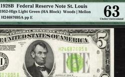 1928b 5 St Louis Federal Reserve Note Frn 1952-b Light Green Seal Lgs Pmg 63