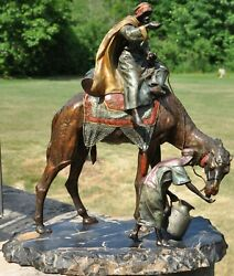 Large Cold Painted Austrian Bronze Of Bedouin On The Camel Taking A Water Break