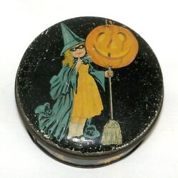 Antique Tindeco Halloween Witch And Jack O Lantern Tin Candy Container
