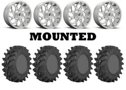 Kit 4 Sti Outback Max Tires 35x9-20 On Fuel Runner Polished D204 Wheels Hp1k