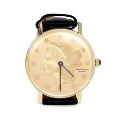 Jules Jurjensen Menand039s 14k Gold Coin Hand Wind Leather Band Wrist Watch