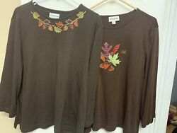 2 Breckenridge Womens long sleeve Embroidered shirts Tops Plus XL Fall Leaves