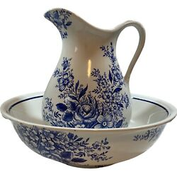 Royal Crownford Ironstone Pitcher And Wash Basin White And Blue Flowers