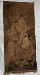 Antique Wall Hanging Tapestry Hand Woven 28 X 56 Bathing Maidens