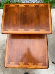 Lane Acclaim Mid-century Modern Dovetailed Inlaid 2-tier End Tables