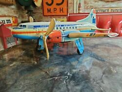 Vintage 1950s Tippco German Tin Litho Wind Up Plane Toy Works As It Should