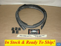 New 1954-1956 Cadillac Hood To Cowl Weatherstrip Seal With Bumper Block Plugs