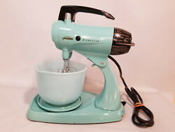 Vintage Sunbeam Mixmaster Model 12 Turquoise W/bowl And Beaters 1950and039s Mixer Euc