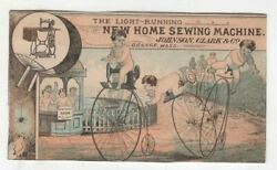 Johnson Clark Sewing Machines High Wheel Bicycle Babies Antique Trade Card