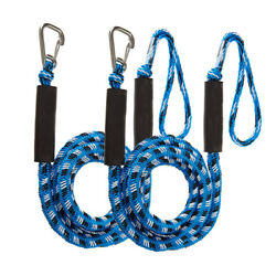 2pcs 4-5.5ft Blue Boat Bungee Dock Lines Bungee Cords Docking Rope Stretches