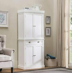 White Wooden Tall Pantry Storage Cabinet Organizer Utility Laundry Towel Closet