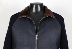 7995 Brunello Cucinelli Leather Shearling Fur / Cashmere Jacket Bomber 2xl 3xl
