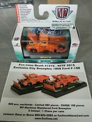 M2 Machines 2015 Ny Toy Fair 1956 Ford F-100 Snow Plow W/promo Card 492 Pcs Made