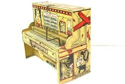 1945 Unique Art Lil Abner Dogpatch Band Tin Wind Up Toy Piano Part Only - Works