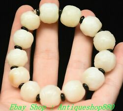 3.9unique Old China Natural Hetian Jade Fengshui Exorcism Bracelet Jewelry