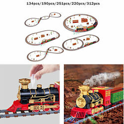 Christmas Electric Musical Train Track Set Carriage Kids Toys Gift