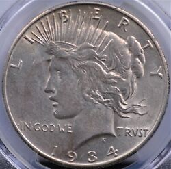 1934 S Peace Dollar Pcgs Choice About Uncirculated 53 Super Nice Example Of This