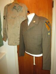 Korean War 1953 Us Army 1st Cavalry Ike Jacket And Shirt Named