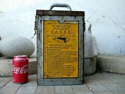Vintage Large Empty Tin Can Old Nail Gun Sasse With Warnings Written In Relief