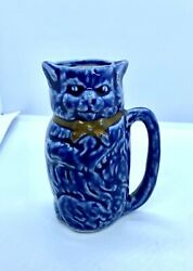 """Small Vintage Blue Cat Porcelain Creamer Pitcher 3.25"""" Tall Germany"""