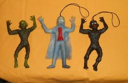 Vintage Monster Rubber Jiggler Lot X3 Toy Wolfman X2 + Dracula