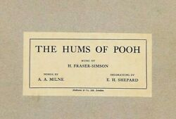 The Hums Of Pooh. A. A. Milne. E. H. Shepard. Deluxe Limited First Edition. 1929