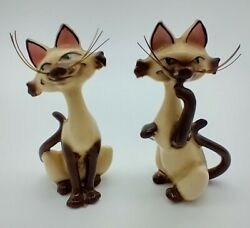 Vintage 1950s Disney Si And Am Figurines With Whiskers - Siamese Cats Lady Tramp