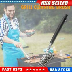3-head Spring Bbq Brush Stainless Steel Wire Barbeque Grill Cleaning Brush